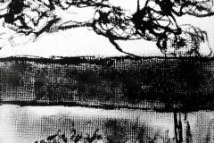 Bäume vor Haus (Tusche auf Leinwandkarton 10,5 x 14 cm)