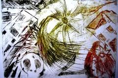 Krieg (zu Herman Hesses Gedicht) (Kaltnadelradierung auf Papier ?? x ?? cm)