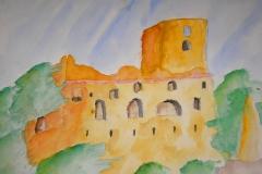 Burg (Aquarell auf Papier 42 x 29,7 cm)