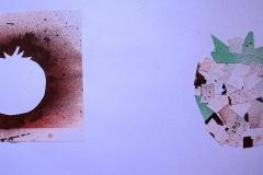 Tomate II (Collage auf Papier, 59,4 x 42 cm)