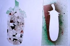 Tomate III (Collage auf Papier, 59,4 x 42 cm)