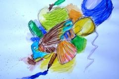 O. T. (Filzstift, Wasserfarben auf Papeir, 42 x 29,7 cm)
