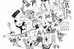 Comicworld (Fineliner auf Papier, 59,4 x 42 cm)