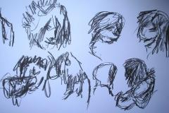 Skizzen (Kohle auf Papier, 59,4 x 42 cm)