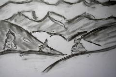 O. T. (Kohle auf Papier, 59,4 x 42 cm)