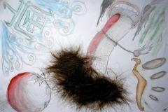 Me, Myself and I (Bleistift, Aquarell, Haare auf Papier, 59,4 x 42 cm)