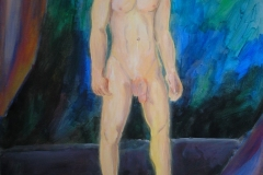 Akt (Acrylfarben, Kreide auf Leinwand, 70 x 100 cm)