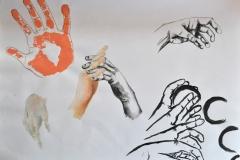 Hände (versch. Techniken auf Papier, 59,4 x 42 cm)