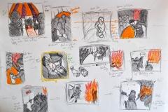 Skizzen zu: Der Zauberer (Bleistift, Filzstift auf Papier, 59,4 x 42 cm)