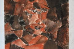 Kubistisches Selbstportrait (Kreide auf Papier, ca. 29,7 x 42 cm)