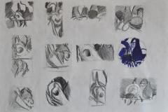 Kompositionsskizzen (Kugelschreiber auf Papier, 59,4 x 42 cm)
