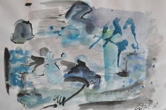 O. T. (Aquarell, Tusche auf Papier, ca. 42 x 29,7 cm)
