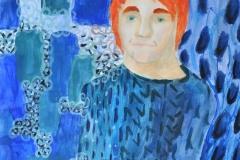 Selbstportrait im Jugendstil (Acryl auf Papier, 42 x 59,4 cm)