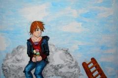 Junge auf den Wolken (Acryl, Aquarell auf Leinwand, ca. 40 x 30 cm)
