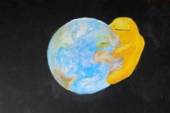 Weltall - Erde - Monster (Acryl auf Karton, ca. 40 x 25 cm)