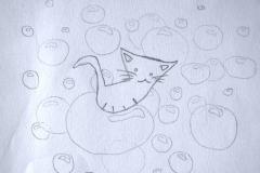 Katzenbubbles (Bleistift auf Papier, ca. 29,7 x 21 cm)