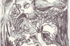 Dämon (Bleistift auf Papier, ca. 14,8 x 21 cm)