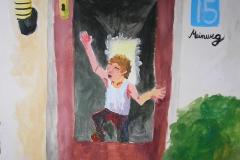 Auf der Flucht von Meinweg 15 (Acryl auf Karton, ca. 50 x 50 cm)