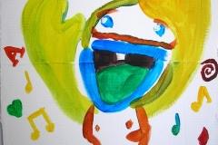 """""""Keine Ahnung - der Jongleur"""" (Acryl auf Karton, Zusammenarbeit mit N. S., ca. 35 x 30 cm)"""