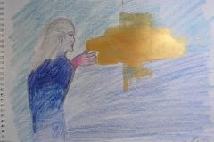 O. T. (Buntstift, Acryl auf Papier, ca. 21 x 14,8 cm)