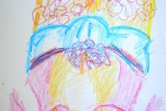 Selbstbildnis Torso (Wachslmalkreiden auf Papier, 14,8 x 21 cm)