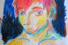 Selbstportrait aus der Erinnerung (Wachsmalkreiden auf Papier, 14,8 x 21 cm)