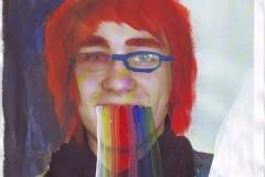 Selbstportrait - Extrem (Acryl, Collage auf Papier, ca. 21 x 29,7 cm)