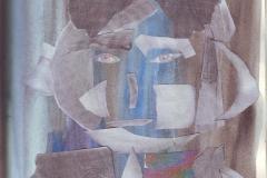 Selbstportrait - Ich 2 (Collage, Aquarell auf Papier, ca. 21 x 29,7 cm)