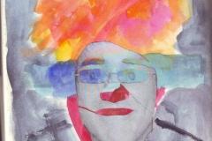 Selbstportrait - Ich (Collage, Aquarell auf Papier, ca. 21 x 29,7 cm)