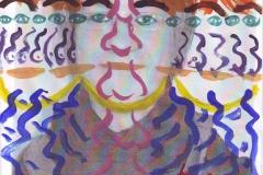 Selbstportrait - Symbole (Acryl, Collage auf Papier, ca. 21 x 29,7 cm)