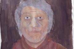 Selbstportrait - Veraltung (Acryl auf Papier, ca. 21 x 29,7 cm)
