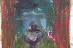Selbstportrait - Wischy (Wachsmalkreiden auf Papier, ca. 21 x 29,7 cm)