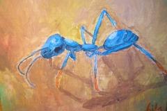Blaue Ameise (Acryl auf Karton, ca. 50 x 40 cm)