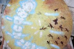 Kristallstahlos Wandmalerei (Strukturwandfarbe, Acryl auf Holz, ca. d=35 cm)