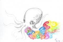 Oktopus (Kugelschreiber auf Papier, ?? x ?? cm)