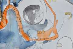 Astronaut (Bleistift und Aquarell auf Papier, ca. 21 x 29,7 cm)