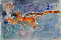 Astronaut (Bleistift und Aquarell auf Papier, ca. 29,7 x 21 cm)