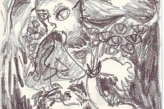 Dämon (Bleistift auf Papier, ca. 14,7 x 21 cm)