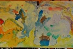 Hasen (Wachsmalkreiden und Wassermalfarben auf Karton, ca. 70 x 25 cm)