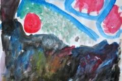 Kuchenskizze 4 (Wasserfarben auf Papier, 42 x 29,7 cm)