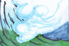 Berg - Postkarte (Copics auf Papier, 14,8 x 10,5 cm)