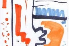 Abstrakte Postkarte I (Copics auf Papier, 10,5 x 14,8 cm)