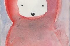 Rotkäppchen (Aquarell auf Papier, 10,5 x 14,7 cm)