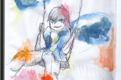 O. T. (Aquarell und Kugelschreiber auf Papier, 14,8 x 21 cm)