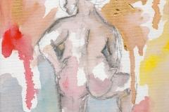 O. T. (Acryl, Bleistift auf Leinwand, ca. 14 x 21 cm)