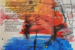 9gatsu 3ka no kokuin - Mucc's Lyric (Collage, Folie, Stift, Marker, Aquarell auf Papier, ca. 29,7 x 42 cm)