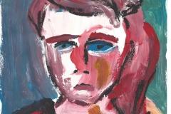 Das rote Mädchen (Acryl auf Papier, ca. 21 x 29,7 cm)