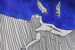 Der Traum der zwei Federn (Filzstift, Acrylfarbe auf Papier, ca. 42 x 29,7 cm)