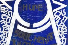 hope (Collage, Acrylfarbe auf Leinwand, ca. 15 x 20 cm)