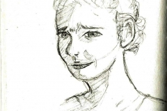 Skizze eines Mädchens (Bleistift auf Papier, ca. 10,5 x 14,8 cm)